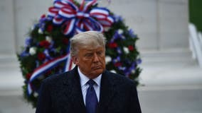 President Trump emerges from White House to mark Veterans Day