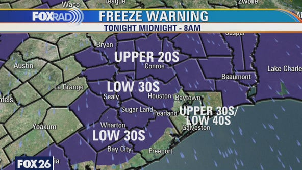 Freeze warning for Houston-area counties from midnight to 8 a.m. Tuesday