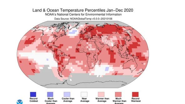 2020 becomes Earth's second hottest year on record