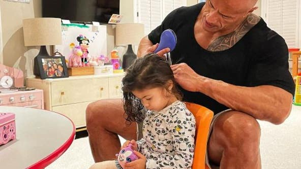 Dwayne Johnson shows off 'exceptional hair skills' in post with 2-year-old daughter