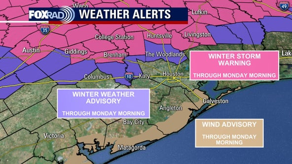 Winter Storm Warning in effect for Sunday, 1-3 inches of snowfall expected north of Houston