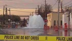 Water main break in East Downtown Houston