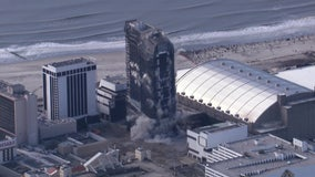 Former Trump Plaza Hotel and Casino imploded Wednesday