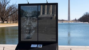 Shattered glass installation in DC dedicated to Kamala Harris
