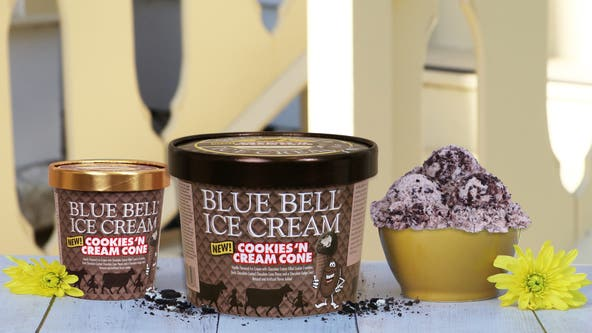 Blue Bell's Cookies 'n Cream Cone ice cream debuts in stores this week