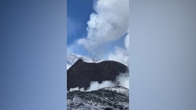 Climbers capture dangerously close video of active Klyuchevskoy volcano spewing steam, ash