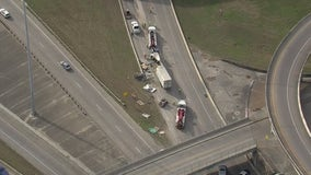 Traffic moving slowly after 18-wheeler crash on Interstate 10 Westbound at Eastex
