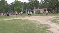 5th grade vs faculty kickball game at Foster Elementary