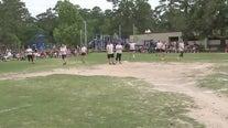5th grade vs faculty kickball game at Foster Elementary