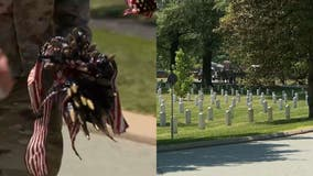 US flags placed on Arlington National Cemetery headstones in honor of Memorial Day