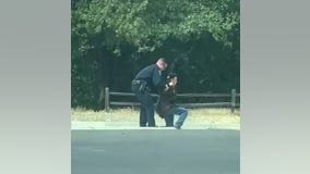 Video captures officer helping blind man after he fell while crossing the street