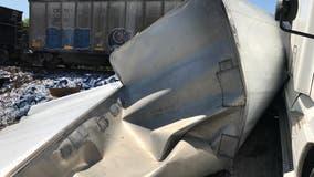 18-wheeler trailer split in half in Richmond train crash