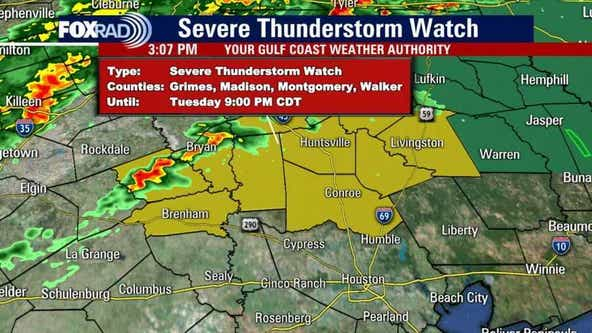 Severe Thunderstorm Watch for counties north of Houston until 9 p.m.