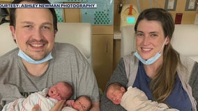 Houston-area dad celebrates first father's day with his newborn triplets