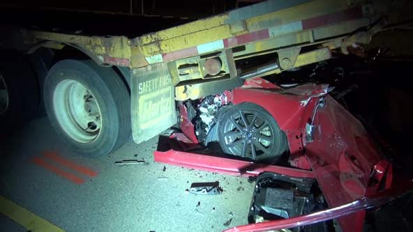 Driver dead, 5-year-old hospitalized after car crashes into 18-wheeler