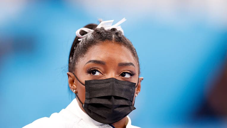 TOKYO, JAPAN - JULY 27: Simone Biles of Team United States looks on during the Women's Team Final on day four of the Tokyo 2020 Olympic Games at Ariake Gymnastics Centre on July 27, 2021, in Tokyo, Japan. (Photo by Fred Lee/Getty Images)