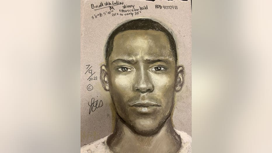 A sketch of the suspect wanted in a deadly road rage shooting on July 6. (Photo: Houston Police Department)