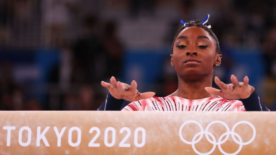 TOKYO, JAPAN - AUGUST 03: Simone Biles of Team United States competes in the Women's Balance Beam Final on day eleven of the Tokyo 2020 Olympic Games at Ariake Gymnastics Centre on August 03, 2021 in Tokyo, Japan.