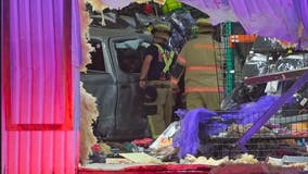 Man extricated out of his truck, airlifted after crashing into Halloween store