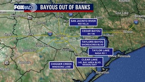 Nicholas: Some Houston-area rivers, bayous and creeks out of their banks
