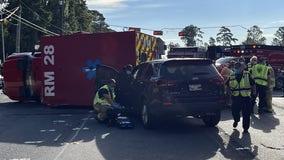 HFD ambulance flips in multi-vehicle crash on FM 1960 in Atascocita
