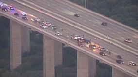 Several vehicles involved in crash on Fred Hartman Bridge