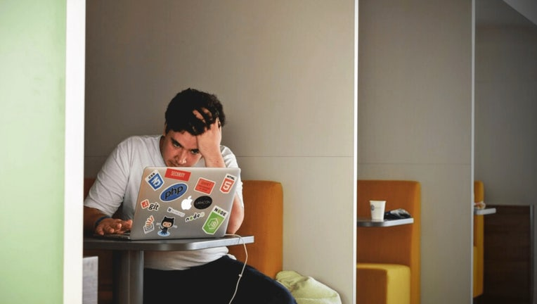 Rice U image of stressed out student