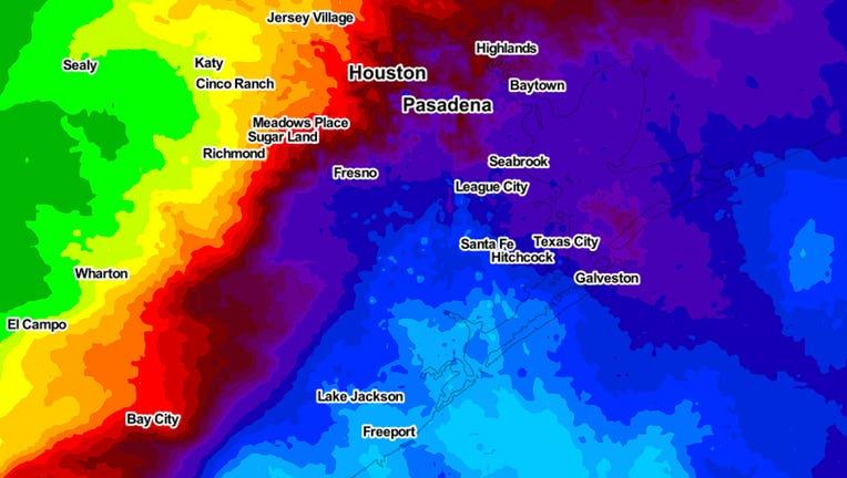 Rainfall in Houston area 9/14/2021