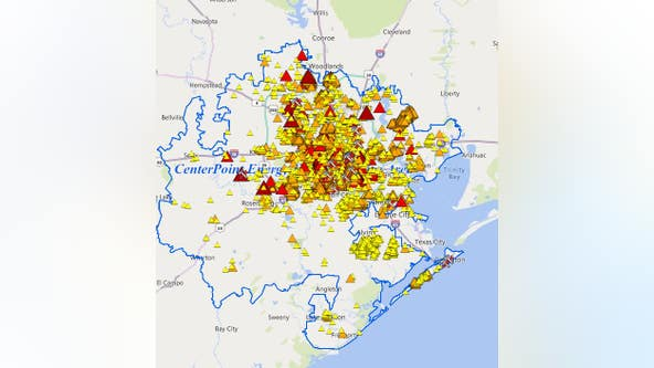 CenterPoint Energy reports more than 100,000 customers without power across Houston