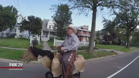 New Jersey town buzzing over cowboy riding battery-powered motor horse