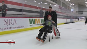 Flyers teach hockey to Overbrook School for the Blind students