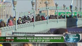 Crowds depart from Philadelphia Eagles Super Bowl celebration