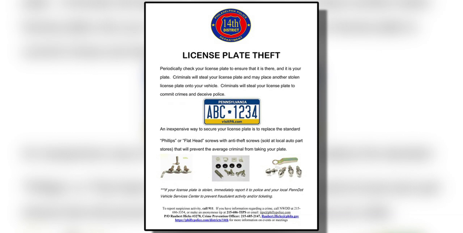 Police warn about spike in license plate thefts in Germantown and