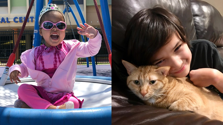Ailani Myers, 3, and Ryan Jacoby, 8, are pictured side by side.