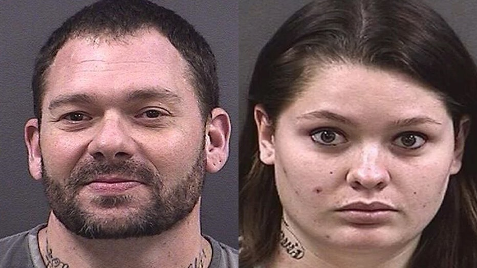 Travis Fieldgrove and Samantha Kershner are pictured in police mugshots.