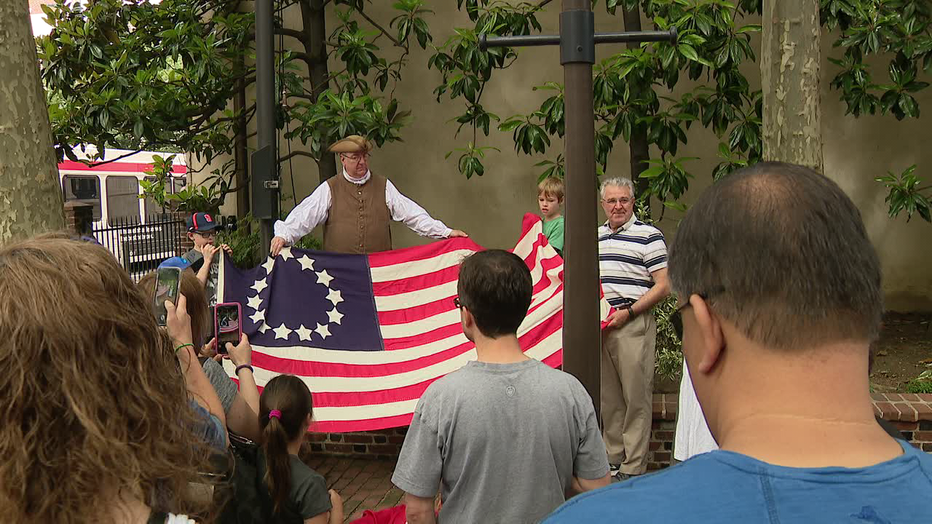 First flag-raising at the Betsy Ross House in Philadelphia.
