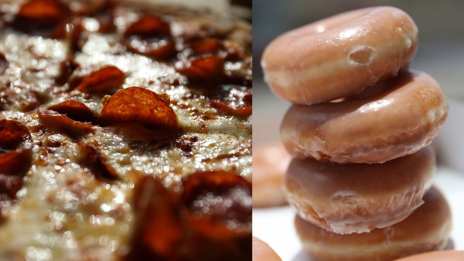 File photos show pepperoni pizza and stacked glazed donuts.