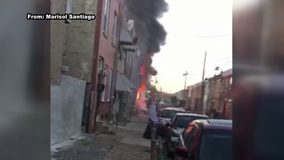 2 row homes destroyed, firefighter injured in Kensington fire