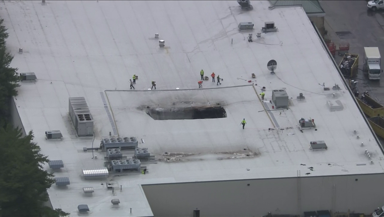 ACME Markets roof collapse in Flourtown, Pa. as seen by Skyfox Thursday.