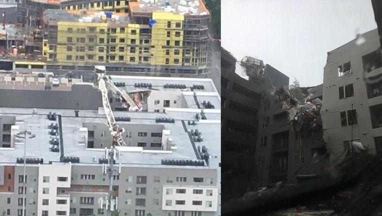 Crane collapses onto apartment building in Dallas, Texas Sunday.
