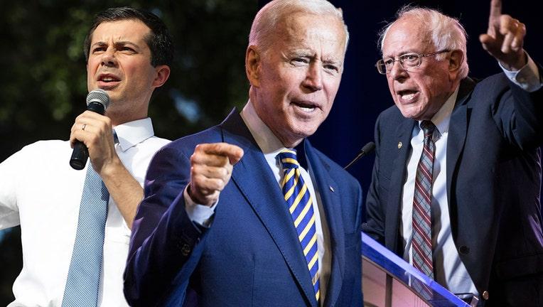 Presidential hopefuls Steve Buttigieg, Joe Biden, and Bernie Sanders.