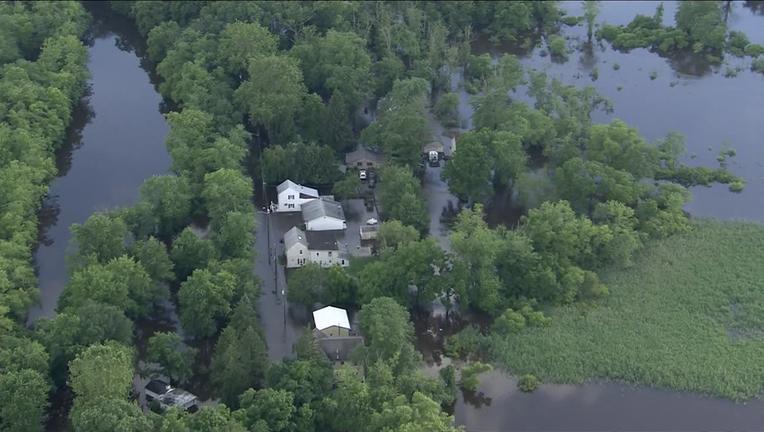 Skyfox over flooding in Lumberton, N.J. Thursday.