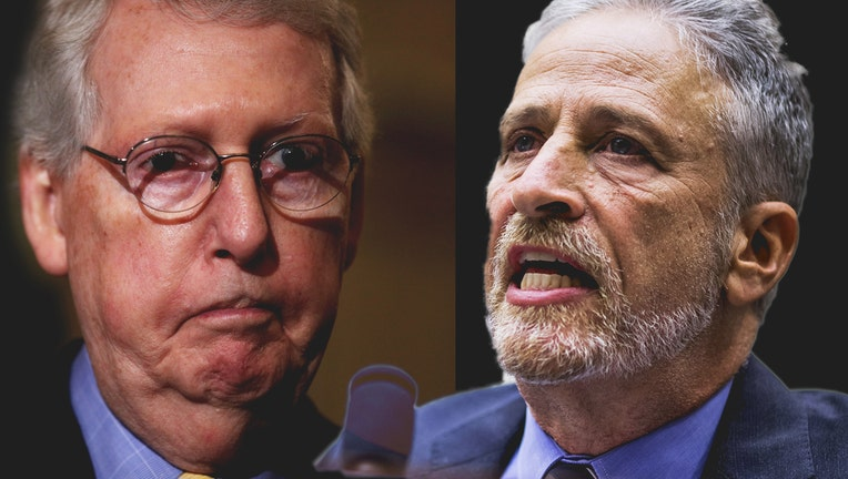 Left:Mitch McConnell speaks during a news briefingin Washington, DC. Right:Jon Stewart testifies during a House Judiciary Committee hearing on reauthorization of the September 11th Victim Compensation Fund.