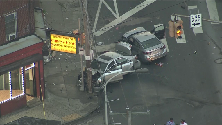 Skyfox over an accident at North 24th and Ridge Ave Monday.