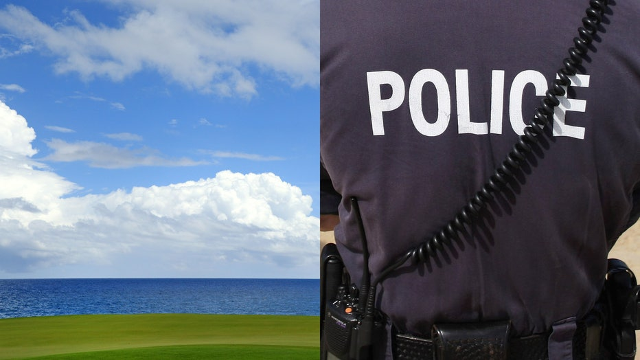 A file photo of a golf course in Punta Cana is shown, alongside a file image of a police officer. (Photo credit: Mike Ehrmann and James Green/Getty Images)