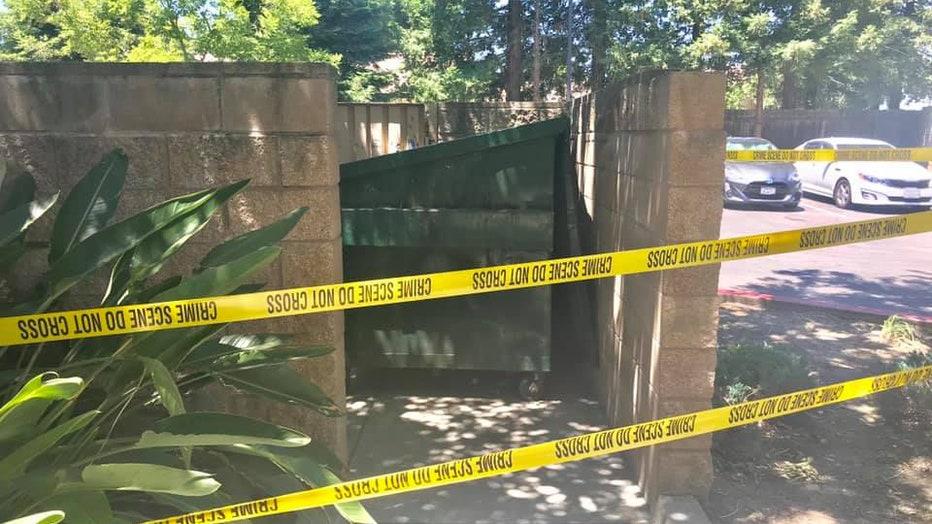 Dumpster in Stockton where the newborn was found.