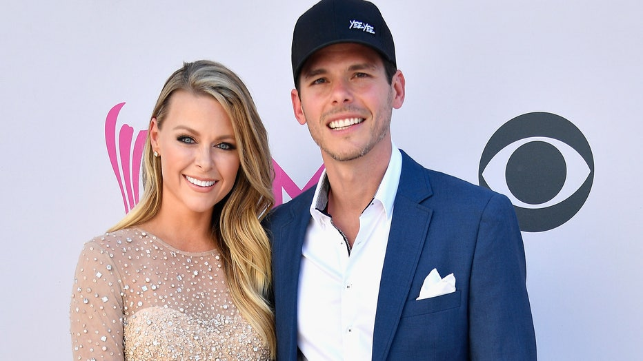 Amber and Granger Smith attend the 52nd Academy Of Country Music Awards at Toshiba Plaza on April 2, 2017 in Las Vegas, Nevada.