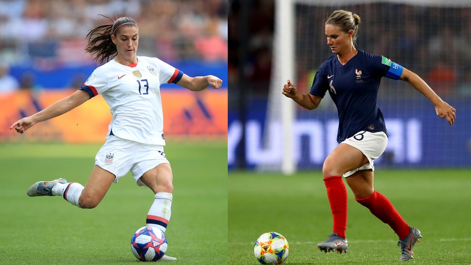 Alex Morgan of USA is shown during the 2019 FIFA Women's World Cup France Round Of 16 match, alongside an image of Amandine Henry of France running with the ball during the France group A match. (Photos by Marc Atkins/Getty Images)