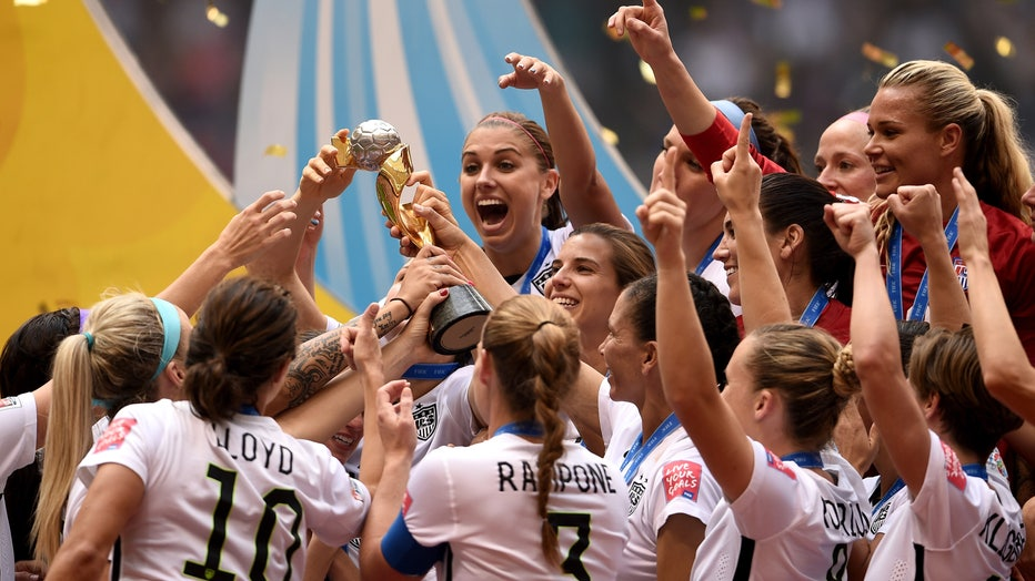 The United States celebrates after winning the FIFA Women's World Cup Canada 2015 5-2 against Japan at BC Place Stadium on July 5, 2015 in Vancouver, Canada.