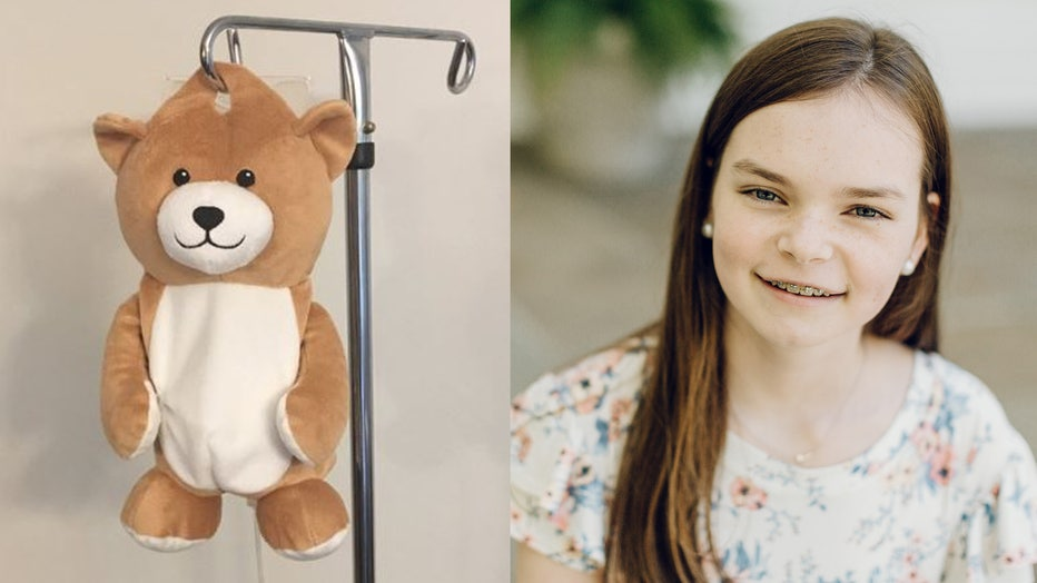 The Medi Teddy, a stuffed animal pouch that hides a young patient's IV bag, pictured alongside 12-year-old Ella Casano. (Photo credit: Medi Teddy and Laura Barr Photography / www.laurabarrphotography)